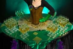 Venetian/Mardi Gras themed living drinks table