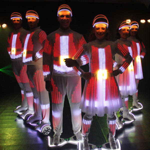 Christmas Glide-about - LED costumed performers on hoverboards