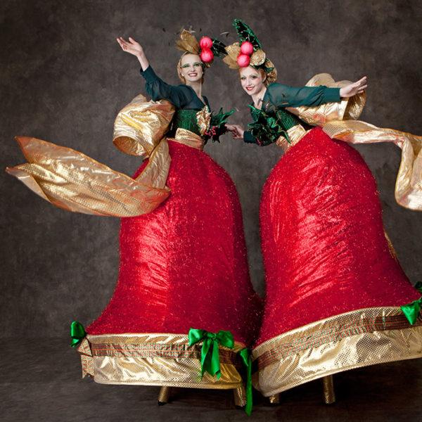 Christmas Belles - Hand bell chiming Christmas themed stilt walkers