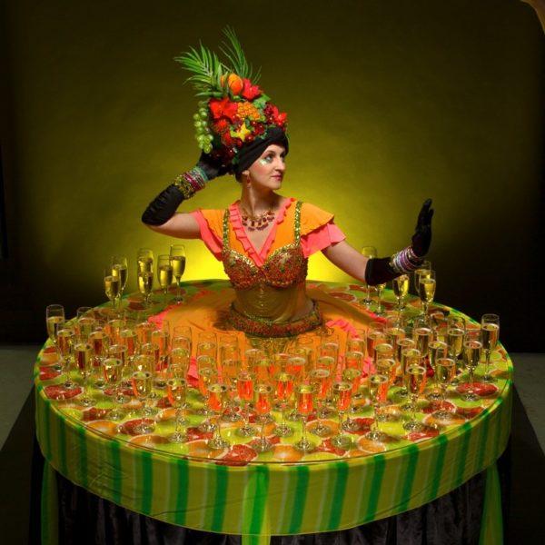 Carnival Human Table - Latin American/Caribbean themed living drinks table