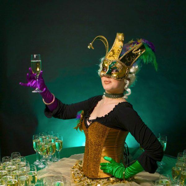 Venetian Human Table - Venetian Mardis Gras themed living drinks table