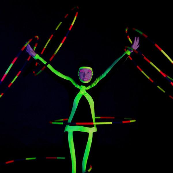 Angie Mack - UV Hula hoop routine