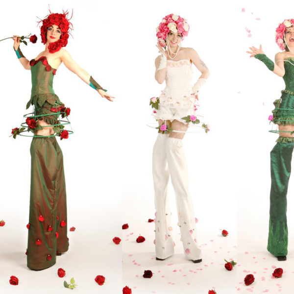 English Roses - Flower themed stilt walkers