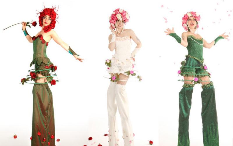 English Roses - Flower themed stilt walkers
